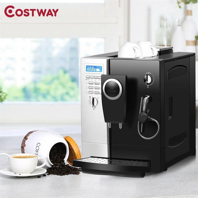 Costway Super-Automatische Espresso Maker Machine met Melkopschuimer Verwijderbare Water Tank Fles Water Espresso Machine EP23935