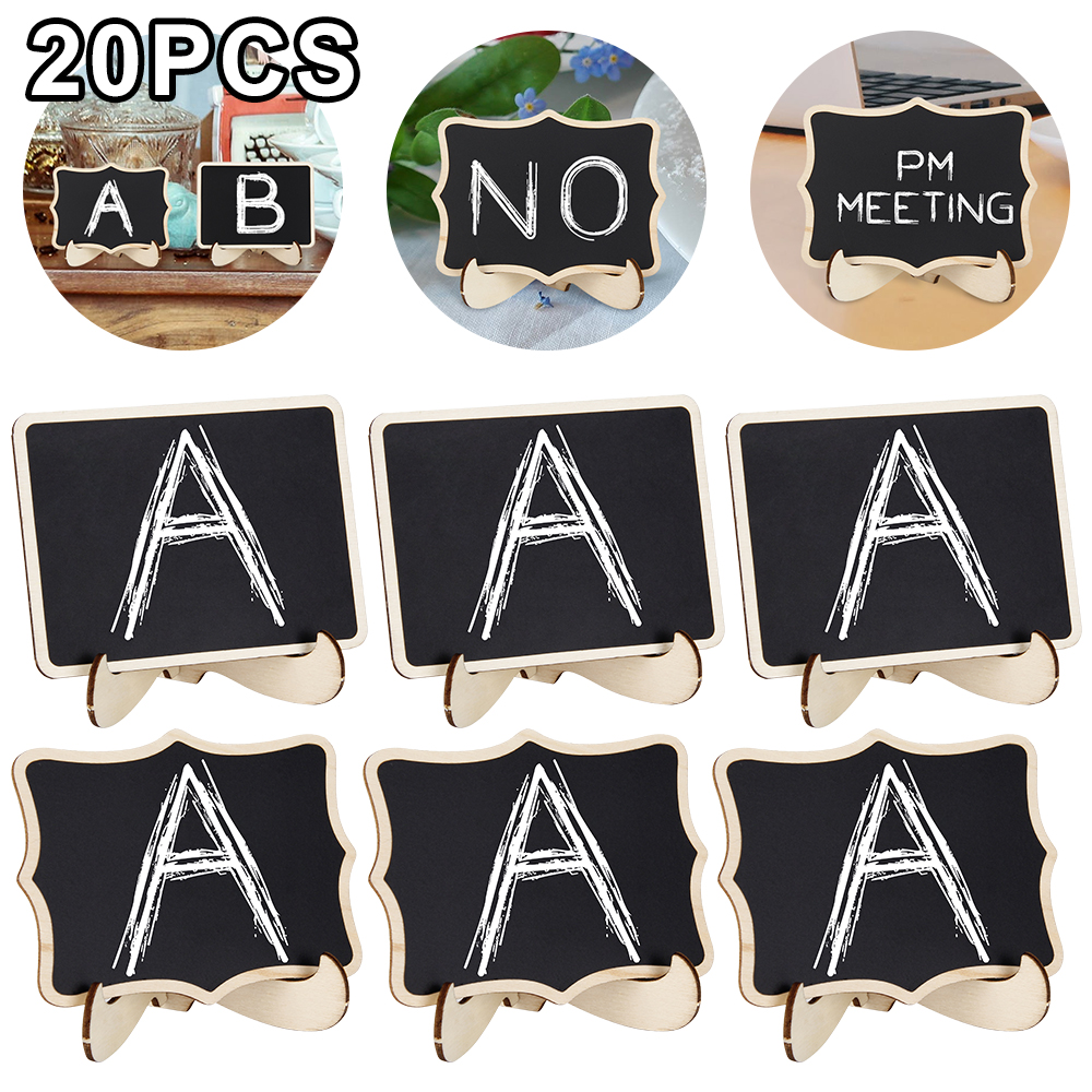 20Pcs Mini Wooden Blackboard Chalkboard Wood Message Notice Board Table Wedding Party Decor Write Information Recycle Card
