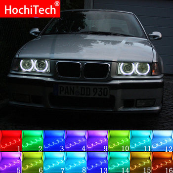 Headlight Multi-color RGB LED Angel Eyes Halo Ring Eye DRL RF Remote Control For BMW 3 Series E36 1990- 2000 131mmx4 Accessories image