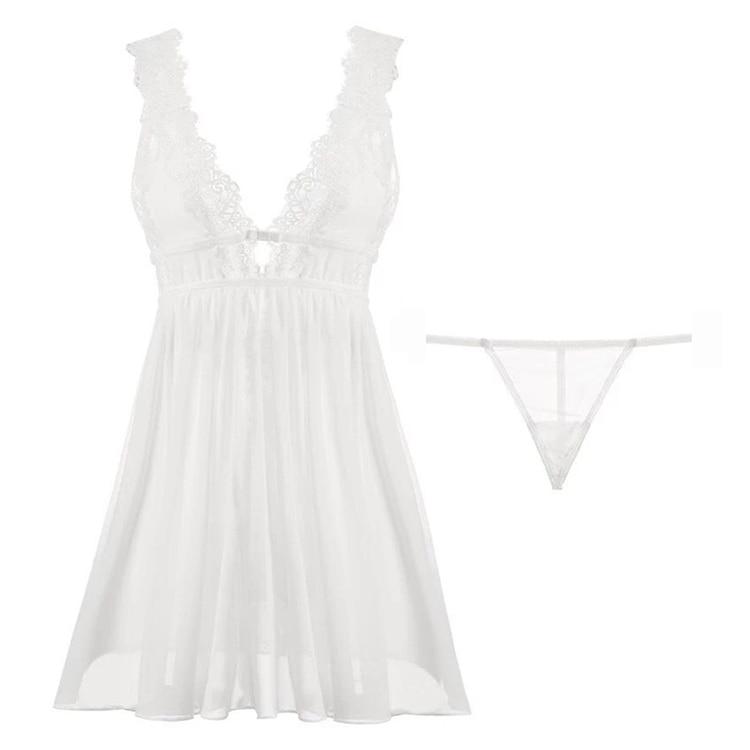 CINOON Summer Womens Sleepwear V-Neck Sexy Nightdress Casual Nightgown Comfortable Lace Pajama Solid Color Bifurcation Nightwear (16)