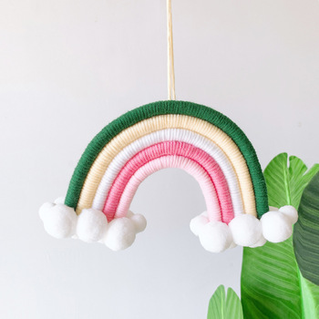 Nordic Kids Nursery Room Decor Felt Rainbow Cloud Hanging Scandinavian Handmade Children Baby Girl Wall