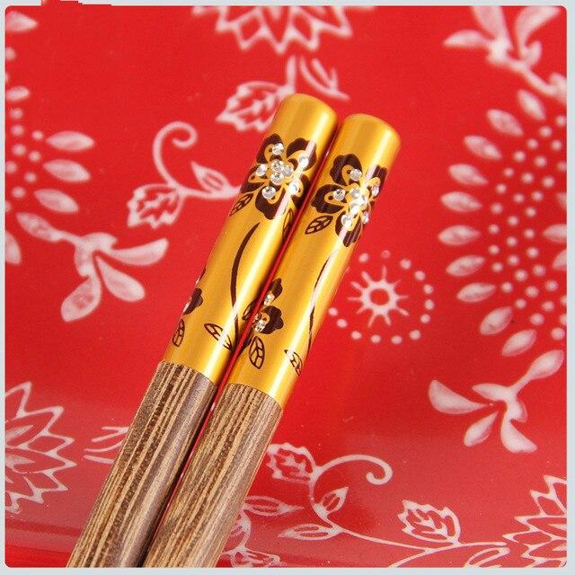 Фото 1 пара модных палочек для еды из сплава китайские палочки многоразовая