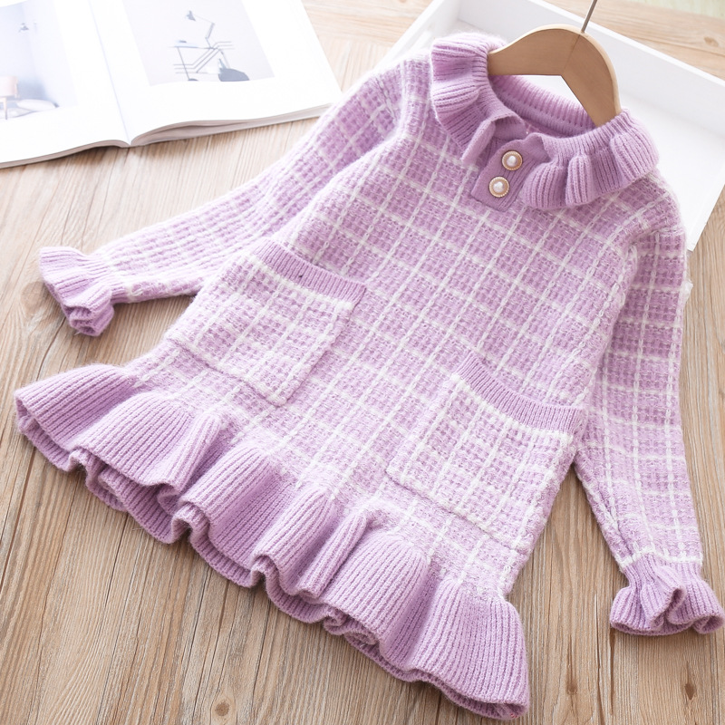 Baby Girls Knitted Dress Sweater shirt Infant Toddler Girl Pullover Child Warm Clothes Undershirts For Winter Autumn Dresses 2
