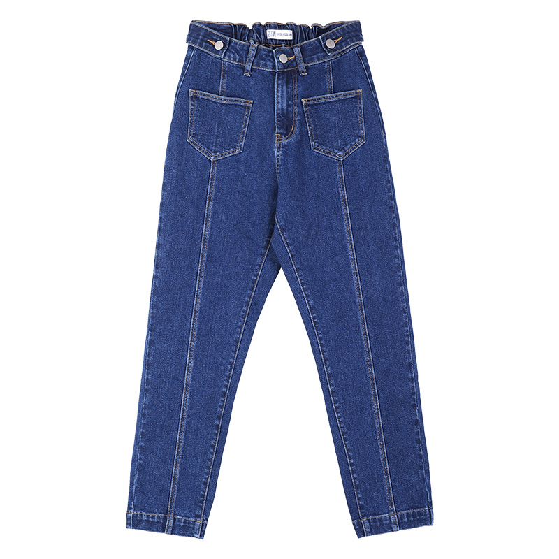 LEIJIJEANS New Arriavl Elastic Waist Loose Waist Girl Harem Pants Beam Feet Pants Fashion Blue Plus Size Loose Women Jeans 9090