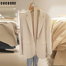 korean Style Woman Blazer Notched Collar Pocket Long Sleeve Office Lady Solid Co