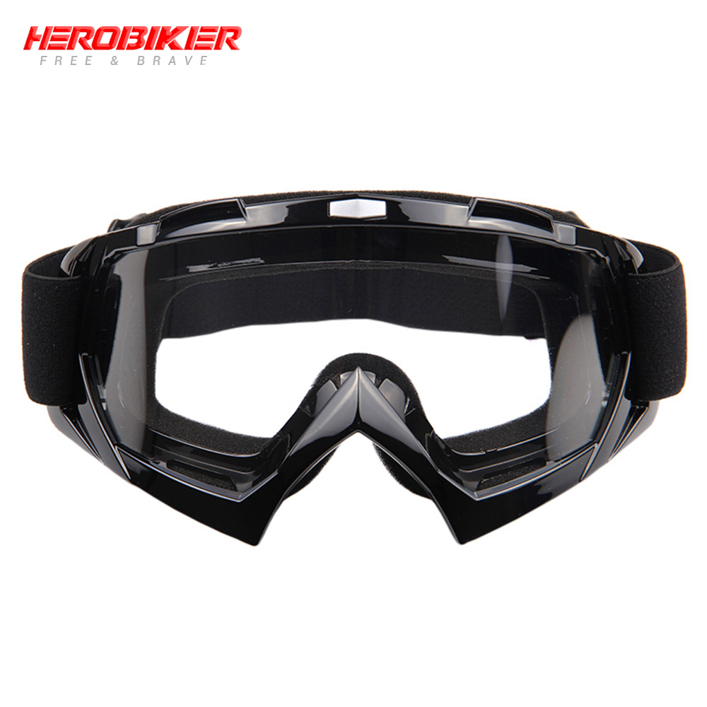 HEROBIKE New Motorcycle Off-Road Racing Goggles Winter Skate Sled ATV Eyewear Motocross DH MTB Glasses Single Lens Clears