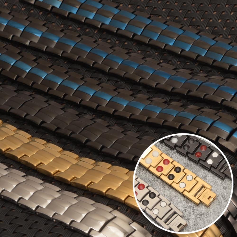Vinterly Black Bracelet Men Hand Chain Energy Health Germanium Magnetic Bracelet Men Stainless Steel Bracelets For Women Men