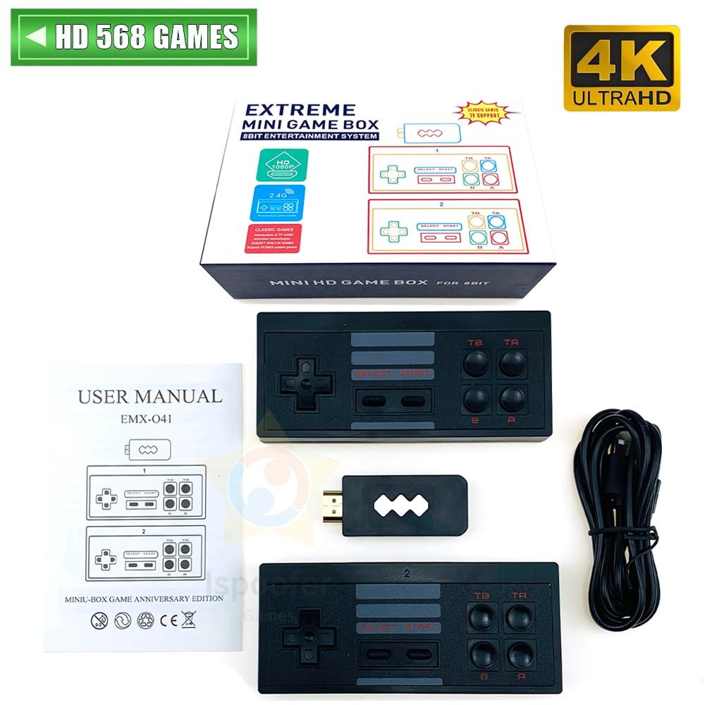 4K HDMI Video Game Console Built in 568 Classic Games Mini Retro Console Wireless Controller HDMI Output Dual Players Dropshippi
