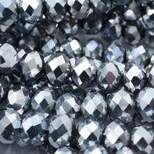 Sprzedaż błyszczące srebro kolor poszycia 4mm 6mm 8mm kryształowe koraliki Austria urok paciorki szklane koraliki dystansowe luzem koralik dla DIY tworzenia biżuterii