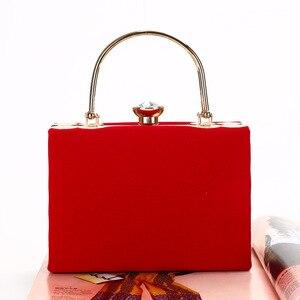 Image 5 - Elegante Velour Hard Oberfläche Frauen Abend Taschen Rechteck Box Tasche Handtaschen Schwarz Rot Fashion Party Kupplungen Damen bolsa feminina