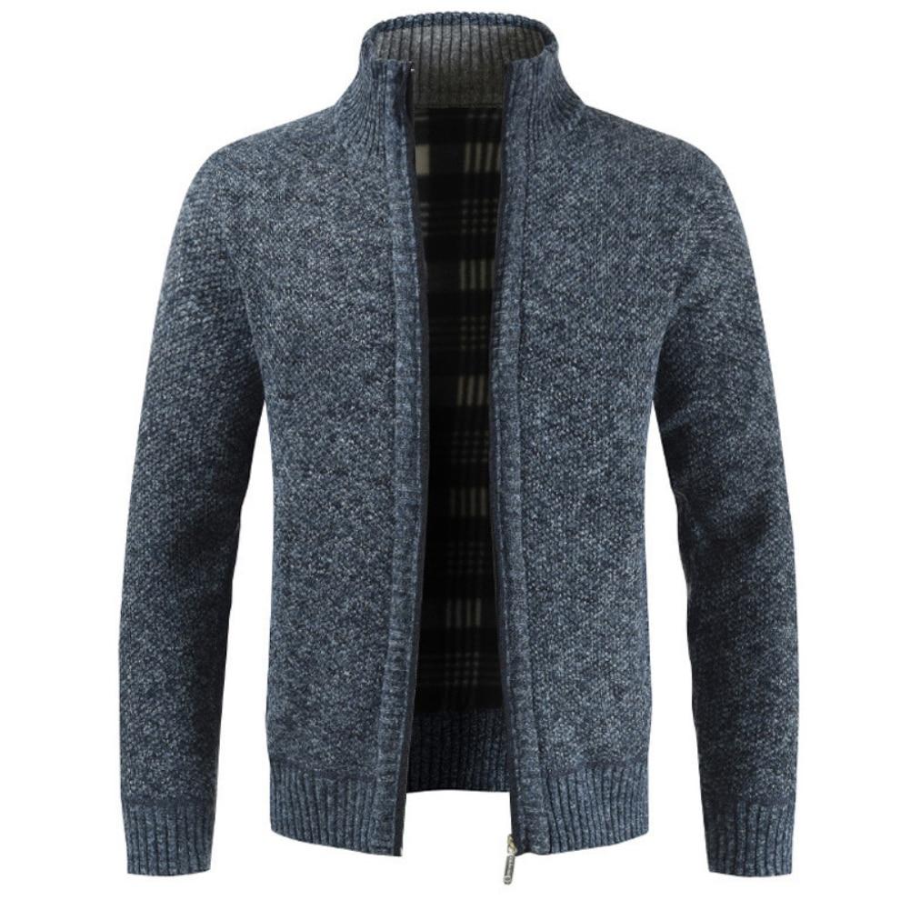Men's Sweaters Autumn Winter Warm Knitted Sweaters Men Knitted Sweater Pockets Plush Liner Warm Slim Cardigan Coat 2