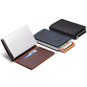 Image 5 - Rfid Cow Genuine Leather Men Wallets Card Holder Customize Mini Wallet Magic Purse Money Bag Male Thin Slim Trifold Wallet Walet
