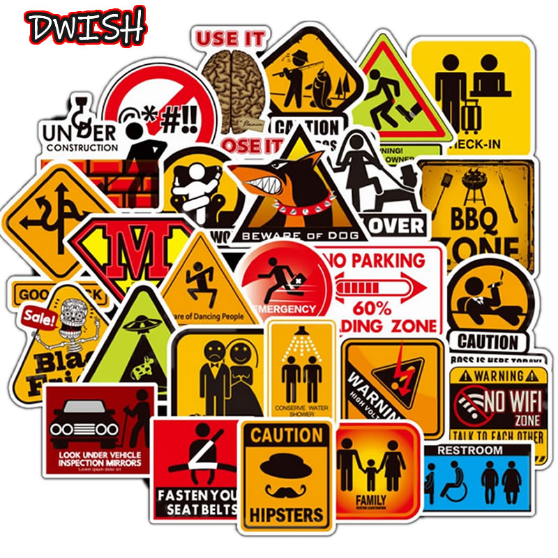 50pcs/Pack Warning Signs Waterproof Stickers Guitar Skateboard Suitcase  DIY Danger Banning Reminder Children Graffiti Sticker