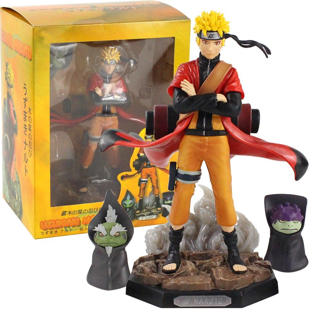 22cm Naruto Shippuden figura de acción Naruto Uzumaki Gama Sennin Shima Fukasaku sapo Anime modelo Juguetes