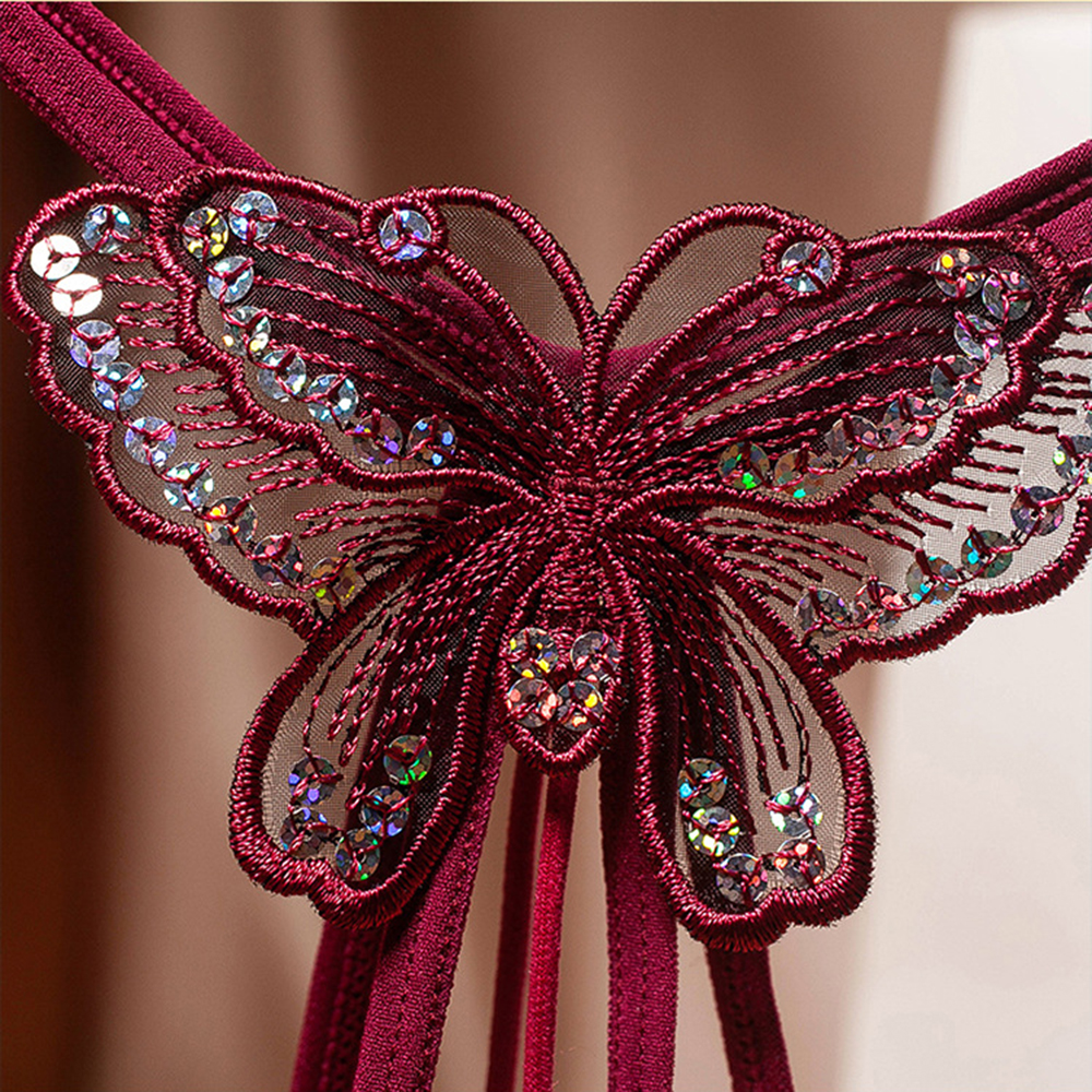 Sequins Embroidery Butterfly Pearl Panties Sexy Lingerie Thongs Women's Erotic Open Crotch Underwear