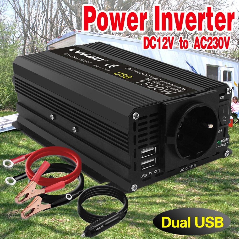Автомобильный инвертор пиковой мощности, 12 В, 220 В, 50 Гц, 1500 Вт, 2 USB розетки переменного тока, инвертор переменного тока, инвертор 12 В, 220 В, инве...