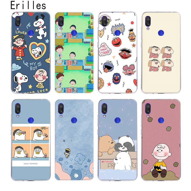 Erilles Cartoon Drawing Case For Xiaomi 5X 6X A1 A2 A3 Cover Xiami 8 9 9T 10 lite Xiomi CC9E Note 10 Pro For Pocophone F1 Shell image