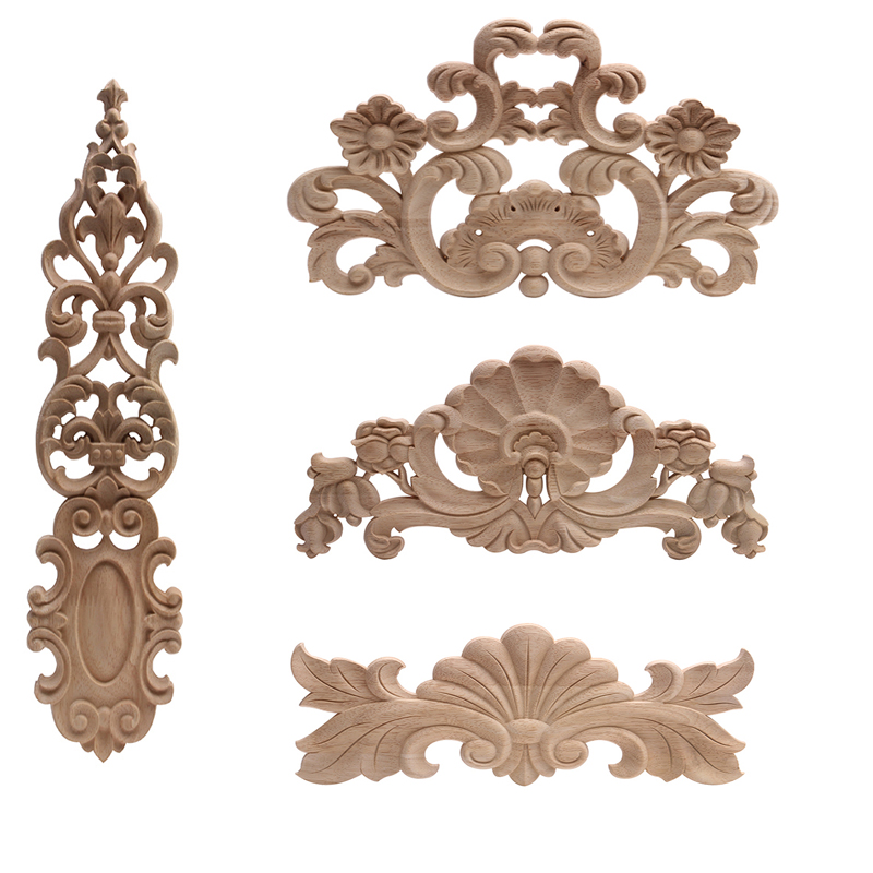 Wood Applique Onlay Wood Decal Rubber Wood  Corner Walls Decor Unpainted Antique  Wood Figurines Wood Mouldings Exquisite NEW