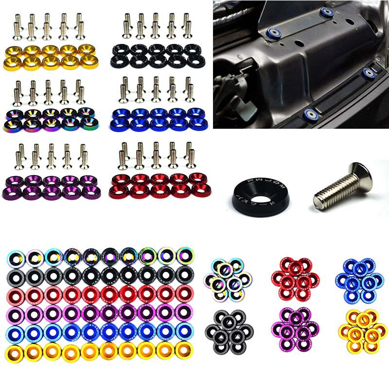 10pcs/Set Color car screw M6 Washer Screw Hex Fasteners Modification Engine Concave Screws Fender Washer Bumper for auto