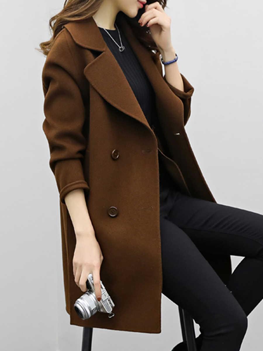 Clearance Fall Winter Long Wool Coat Women Warmness XXL Elegant Black Woolen Outwear 2019 Minimalist Korean Fashion Overcoat Top