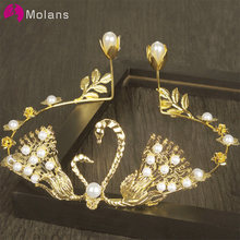 Molans Swan Crown Pearl Cake Wedding Hair Jewellery Silver Exquisite Pearl Prom Party Wedding Accessories for Bridal Party(China)