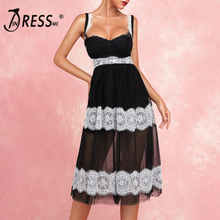 INDRESSME 2019 New Women Sexy Chic Lace Straps Sleeveless Mesh Daily Dress Wholesale Summer Hot Lady Elegant Party Club