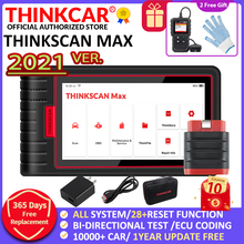 Thinkcar thinkscan max ferramentas de diagnóstico obd2 sistema completo ecu codificação bidirecional controle 28 redefinir lançamento