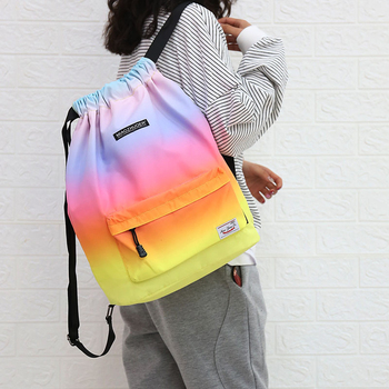 Women Drawstring Gym Bag Waterproof Sports Bag Outdoor Backpack For Training Girls Travel Swimming Fitness Bags Softback Student 5
