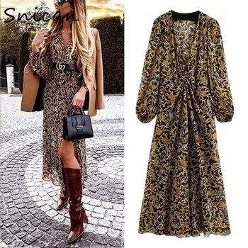 floral print bohemian dress black golden paisley wrap dress robe oversize fashion beach dress boho robe longue za woman 2020 new cherry print wrap dress