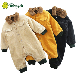 Image 1 - SINGBAIL Baby Rompers Winter Baby Boys Jumpsuits Corduroy Infant Girls Rompers Winter Baby Outfit Thicken Lining Baby Rompers Y0