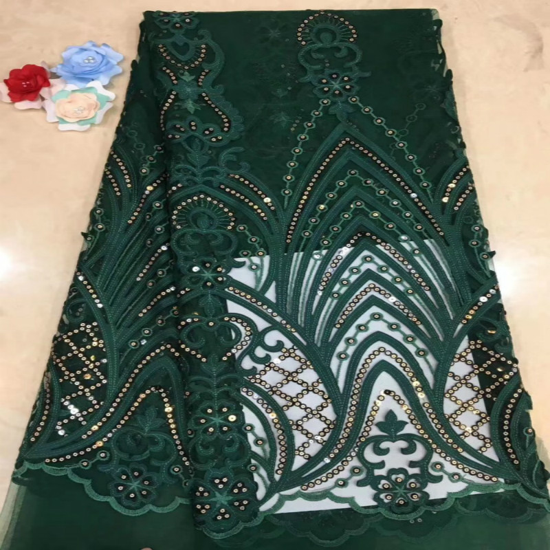 New Mesh Fashion Fabric Classical Geometric Figure Beads Embroidered Lace Fabric High-end Dress Curtain Decoration Lace Fabric