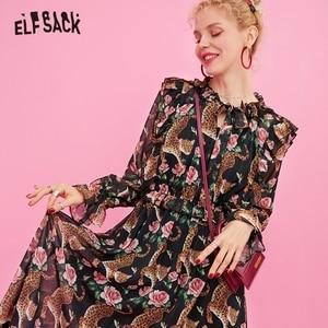 Image 2 - ELFSACK 花ヴィンテージの女性のドレス、 2019 秋の新アニマルプリント休日ドレスファッションバタフライスリーブの女性のパーティードレス