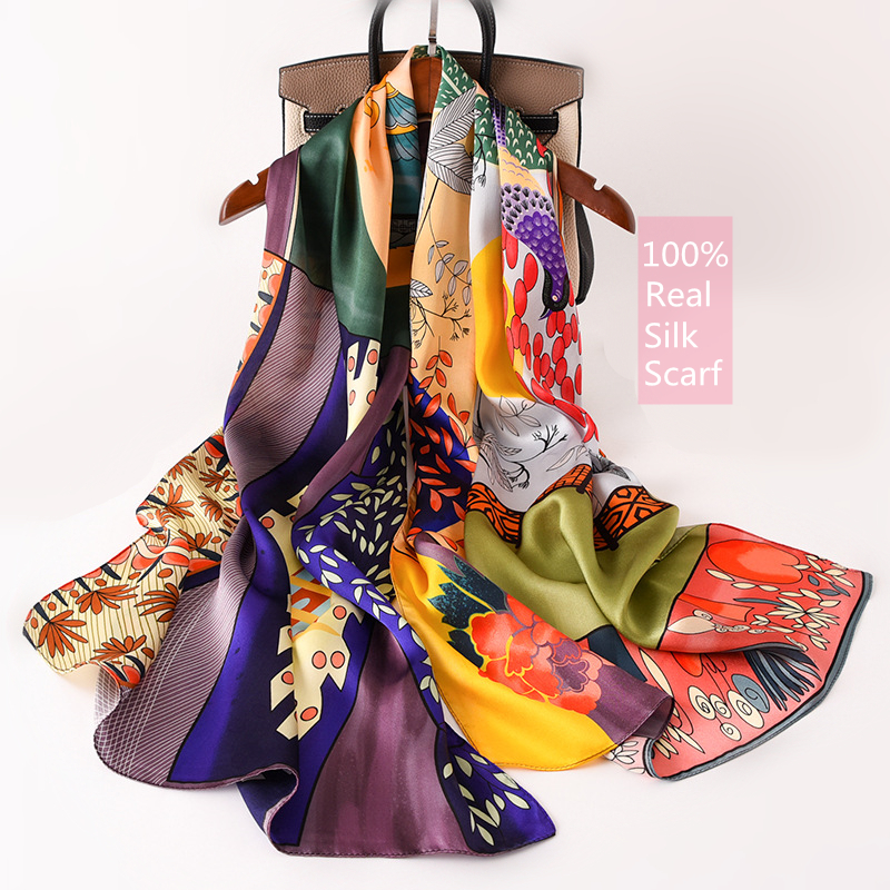100% Real Silk Scarf Luxury Brand Designer Women Scarves Long Thin Mulberry Silk Shawl Wrap Spring New Fashion Print Neck Scarf