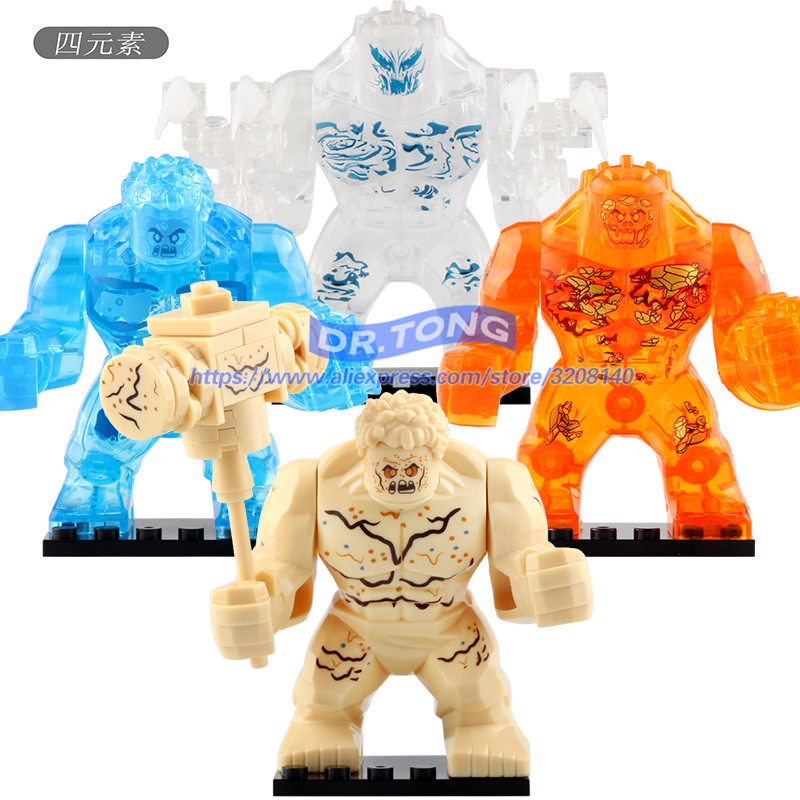 Super Heroes 7CM Size Infinity War Water Element Earth Elemental Hulk Thanos Figures Building Blocks Bricks Toys <font><b>XH1255</b></font>-1257 image