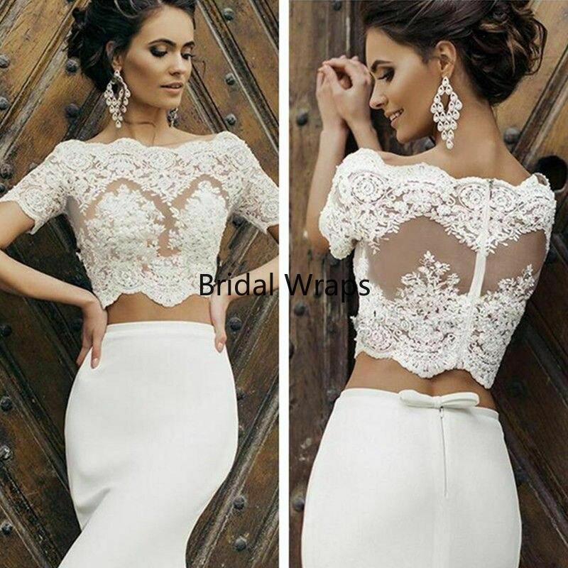 Wedding Short Sleeve Jacket Topper Cover Up Lace Applique Women Bridal Jackets
