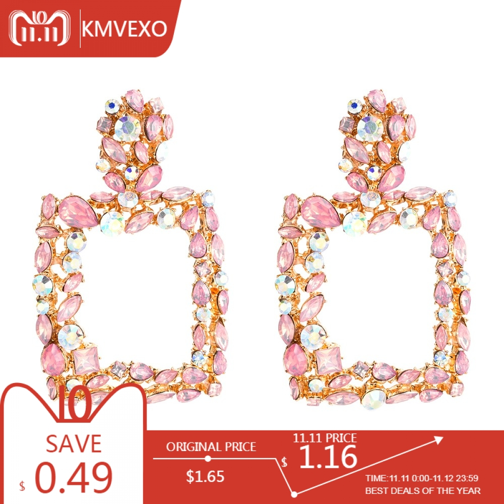 KMVEXO Vintage Metal Statement Earrings For Women 2018 New Pink Blue Crystal Fashion Drop Dangle Earrings Wedding Jewelry Gift