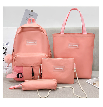LITTHING 4Pcs/set Women School Backpacks Oxford Waterproof Schoolbag For Teenage Girls Student Book Bag Travel Casual Bagpacks