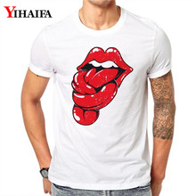 T-Shirt Men Women 3D Print Space Galaxy Red lips Graphic Tees Casual White Tee Shirts Unisex Creative Short Sleeve Tops