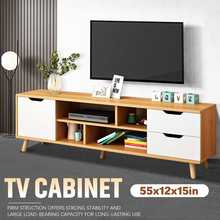 55x12Inch Wooden TV Cabinet TV Stand Audio-visual Storage Cabinets Drawers 140x30cm Living Room Furniture Storage Organizer