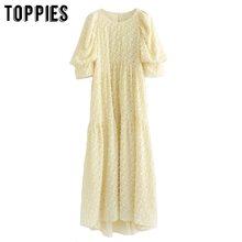 Party-Dress Puff-Sleeve Yellow Vestidos Toppies Women Summer Tassel Grain