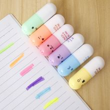 6 pcs Capsules highlighter Vitamin pill highlight marker color pens Stationery Office School supplies marcadores caneta