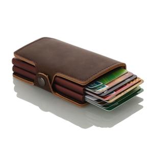 Image 3 - Casekey Anti theft Männer Brieftasche doppel Aluminium Leder Kreditkarte Halter RFID Metall Brieftasche Automatische Pop Up Geldbörse ID karteninhaber