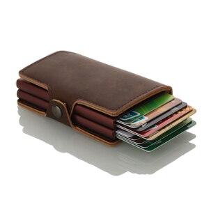 Image 3 - Casekey мужской кошелек с защитой от кражи, двойной алюминиевый кожаный держатель для кредитных карт, металлический rfid кошелек, автоматический всплывающий кошелек, держатель для ID карт