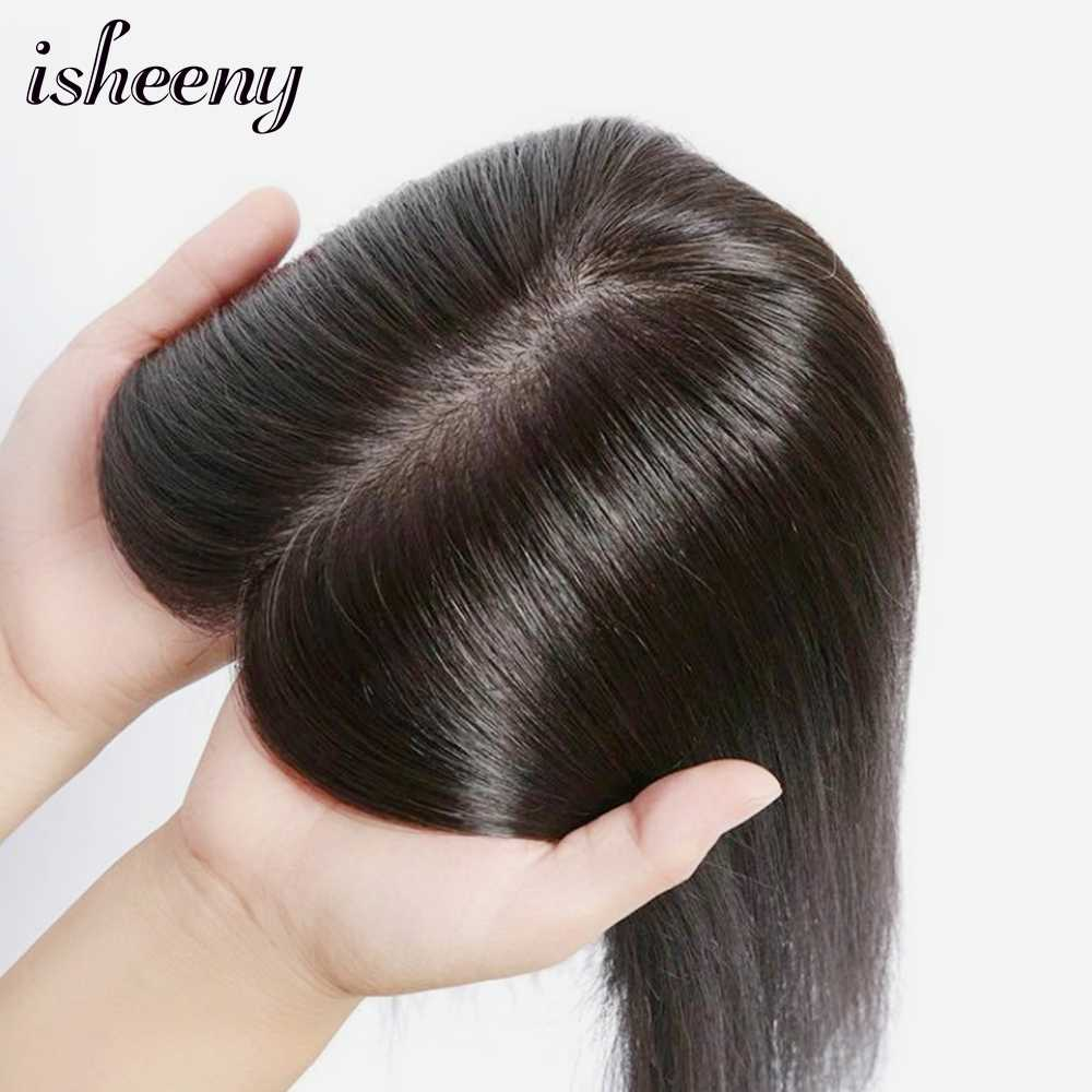 "isheeny 10*12 Women Toupee Human Hair Piece 8""-12"" Clip In Indian Virgin Hair Topper Wig Black Brown Natural"