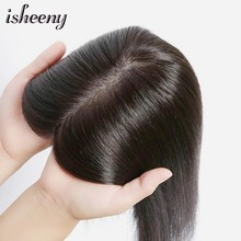 "isheeny 10*10 Women Toupee Human Hair Piece 8""-12"" Clip In Indian Virgin Hair Topper Wig Natural Color(China)"
