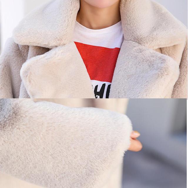 Winter Women High Quality Faux Rabbit Fur Coat Luxury Long Fur Coat Loose Lapel OverCoat Thick Warm Plus Size Female Plush Coats
