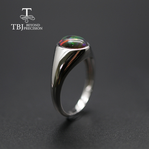 Image 4 - natural Opal Ring oval 7*9mm gemstone women Ring simple elegant fine jewelry 925 sterling silver  tbj promotion