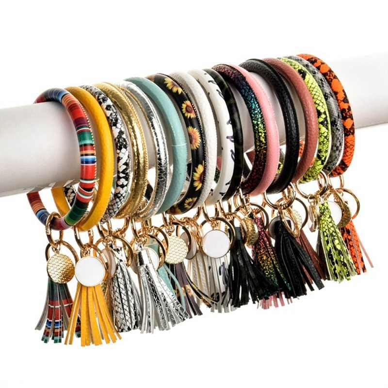 New Arrival PU Leather O Shaped Key Chain Circle Tassel Corlorful Wristlet Bracelet Keychains Women Girl Key Ring Wrist Strap