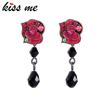 kissme Fashion Jewelry For Mother's Day Vintage Gold Color Rose Flower Women Stud Earrings Delicate Crystal Enamel Accessories image