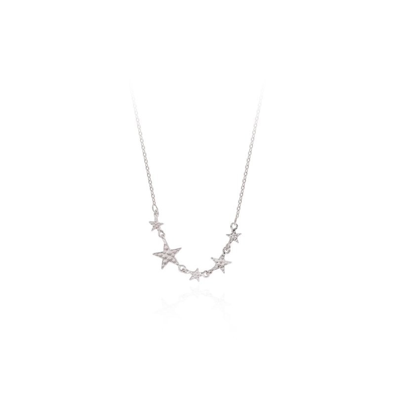 42.5+3.5cm 925 Sterling Silver Stars Pendant Necklace Elegant Women's Wedding Clavicle Chain Charming Ladies Party Jewelry Gifts